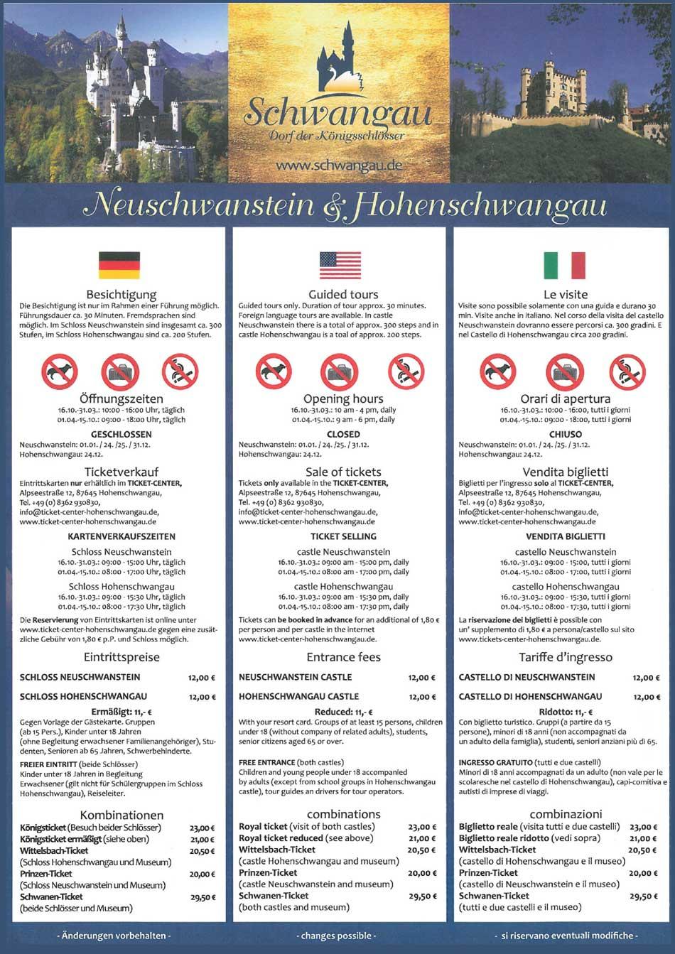 Information Schloss Neuschwanstein Hohenschwangau
