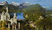 Postkarte aus den 70er Jahren: Schloss Neuschwanstein, Alpsee, Schloss Hohenschwangau, Schwansee; Verlag Franz Milz, Füssen Allgäu